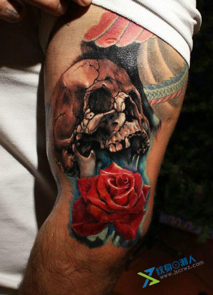 骷髅头拼玫瑰花纹身分享展示